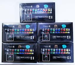 12 Color Lot of 5 Acrylic Paint Sets w/ Brushes - Brand New