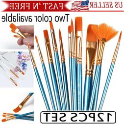 12Pcs Set Artist Paint Brushes Set Art Painting Supplies Acr
