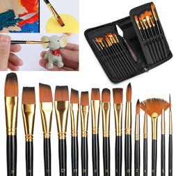 15 Pcs Professional Artist Paint Brush Set Acrylic Oil Water