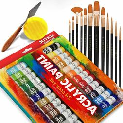 Acrylic Colors 24 Paint Set  W/ Brushes Knife & Sponge for A