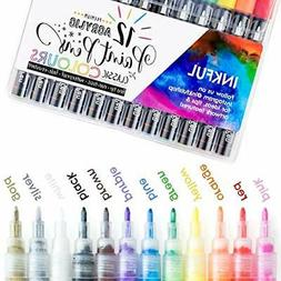 Acrylic Paint Markers by Inkful - Set of 12 Classic Colors w