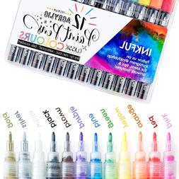 Acrylic Paint Pens By Inkful - Set Of 12 Classic Colors With