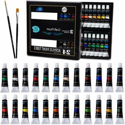 Acrylic Paint Set 24 Colors with 2 Brushes Perfect For Canva