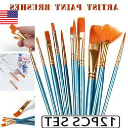 Artist Paint Brushes Set 12Pcs Oil Acrylic Watercolour Art P