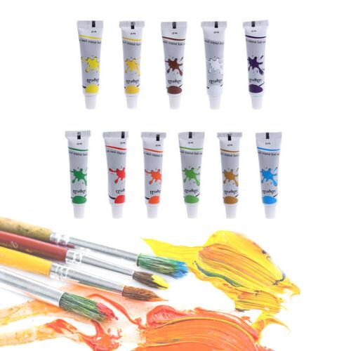 12 Color Acrylic Paint Set 12 ml Tubes Artist Draw Painting