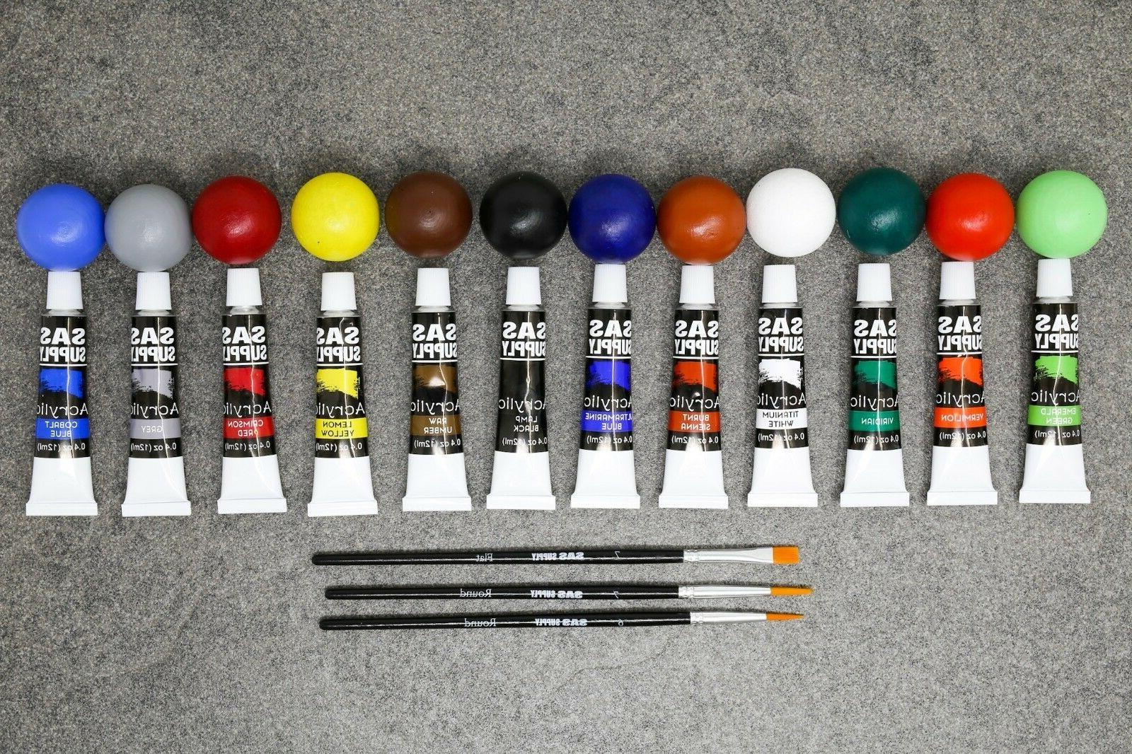12 Color Lot of 5 Acrylic Paint w/ New & FRESH!