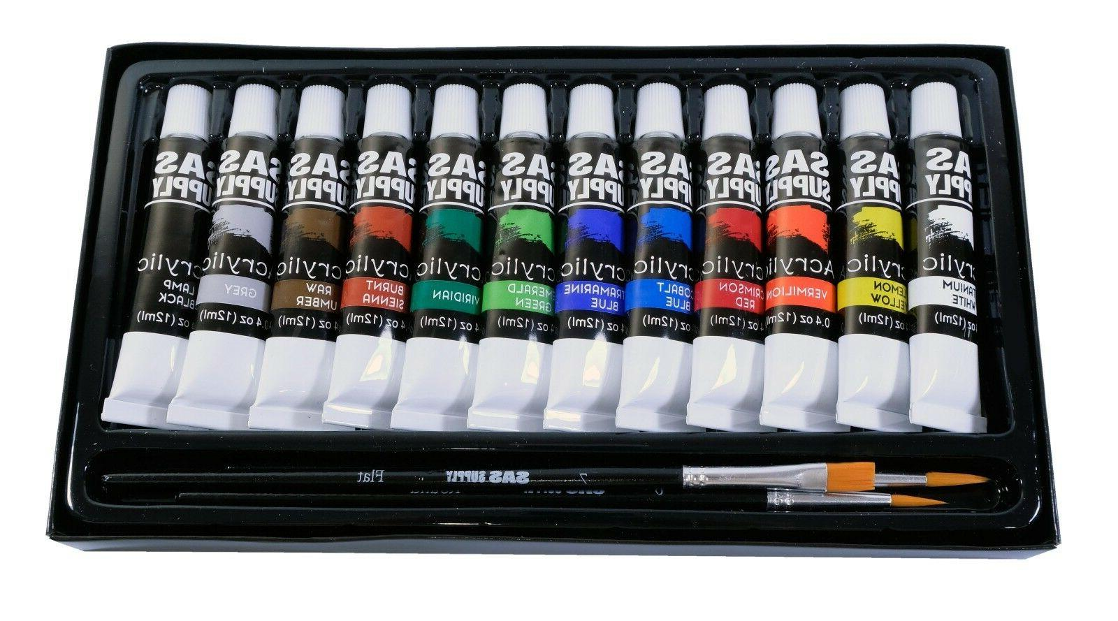 12 Color Lot 5 Acrylic Paint w/ Brushes New & SHIP!