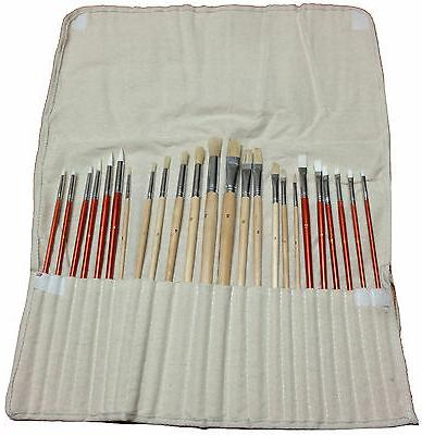 24 PAINT BRUSH SET for Oil Acrylic Art Painting w Canvas Rol