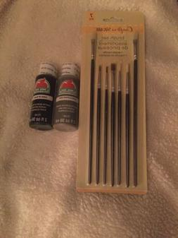 Lot 3 Apple Barrel Matte Acrylic Craft Paints JET BLACK  6 F