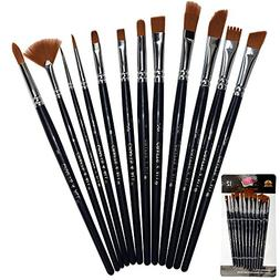 Paint Brushes 12 Set Professional Paint Brush Round Pointed