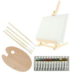 US Art Supply 19pc Oil Painting Set With Table Easel, Canvas