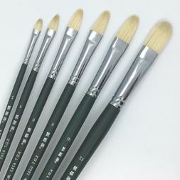 XDT#6385 Filbert Artist Paint Brush Set 6 Pc Hog Bristle For
